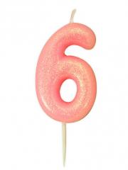 Κεράκι νούμερο 6 ροζ ιριδίζον γκλίτερ