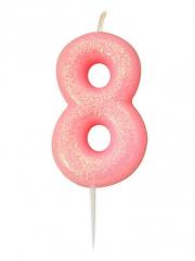 Κεράκι νούμερο 8 ροζ ιριδίζον γκλίτερ