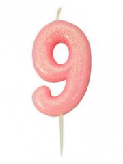 Κεράκι νούμερο 9 ροζ ιριδίζον γκλίτερ