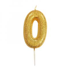 Χρυσαφί κεράκι νούμερο 0 με γκλίτερ 7εκ