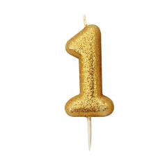 Χρυσαφί κεράκι νούμερο 1 με γκλίτερ 7εκ
