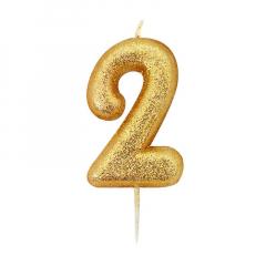 Χρυσαφί κεράκι νούμερο 2 με γκλίτερ 7εκ