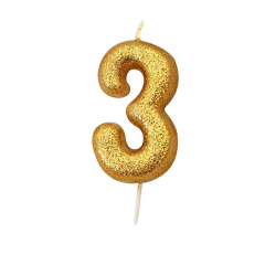 Χρυσαφί κεράκι νούμερο 3 με γκλίτερ 7εκ