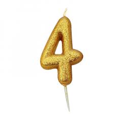 Χρυσαφί κεράκι νούμερο 4 με γκλίτερ 7εκ