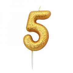 Χρυσαφί κεράκι νούμερο 5 με γκλίτερ 7εκ