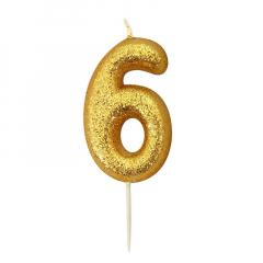 Χρυσαφί κεράκι νούμερο 6 με γκλίτερ 7εκ