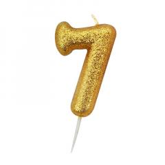 Χρυσαφί κεράκι νούμερο 7 με γκλίτερ 7εκ