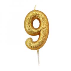 Χρυσαφί κεράκι νούμερο 9 με γκλίτερ 7εκ