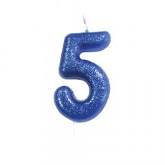 Κεράκι νούμερο 5 μπλε γκλίτερ
