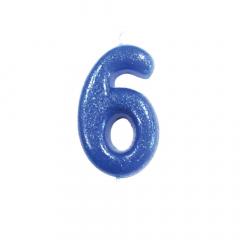 Κεράκι νούμερο 6 μπλε γκλίτερ
