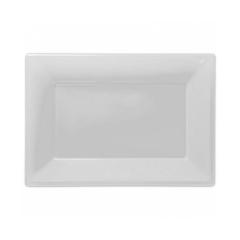 Πιατέλα πλαστική Λευκή 3τεμ 33x23 εκ