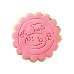 Μπισκότο ζαχαρόπαστας σε σχήμα funny face στρόγγυλο