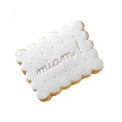 Τετράγωνο μπισκότο ζαχαρόπαστας με επιγραφή miam