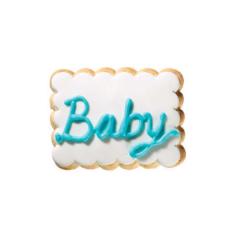 Τετράγωνο μπισκότο ζαχαρόπαστας με επιγραφή baby γαλάζιο