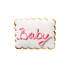 Τετράγωνο μπισκότο ζαχαρόπαστας με επιγραφή baby ρόζ