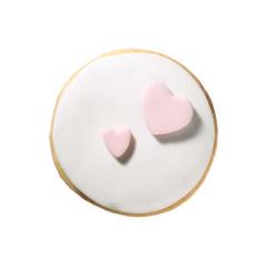 Στρόγγυλο μπισκότο ζαχαρόπαστας με σχέδιο καρδούλες