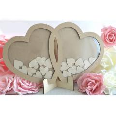 Ξύλινo κάδρο ευχών σε σχήμα διπλή καρδιάς με 50 καρδιές