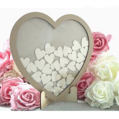 Ξύλινo κάδρο ευχών σε σχήμα καρδιάς με 50 καρδιές