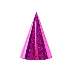 Χάρτινο καπελάκι ροζ μεταλλιζέ 6τεμ