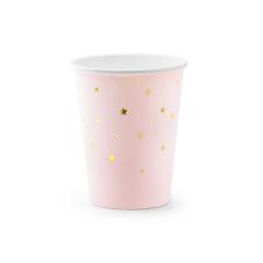 Χάρτινα ποτήρια ροζ με χρυσά αστέρια 6τεμ