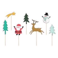 Χάρτινα χριστουγεννιάτικα toppers 7τεμ