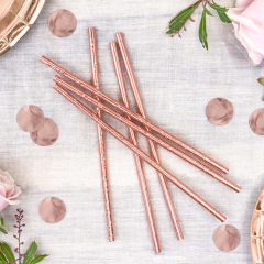 Χάρτινα καλαμάκια ροζ χρυσό μεταλλιζέ