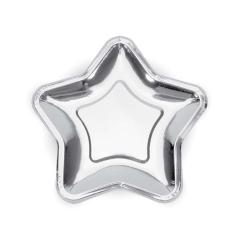 Χάρτινο πιάτο φαγητού ασημί αστέρι 23εκ
