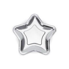 Χάρτινο πιάτο γλυκού ασημί αστέρι 18εκ