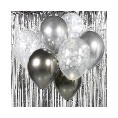 Σετ μπουκέτο μπαλόνια ασημί 7τεμ