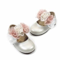 Δερμάτινο γοβάκι μπαρέτα χρατς τριχρωμο διακοσμητικό λουλουδι Babywalker
