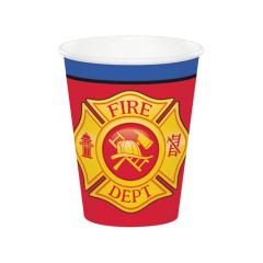Χάρτινα ποτήρια Flaming Fire Truck 8τεμ