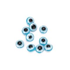 Χάντρες μάτι πλακέ σιέλ 10mm 50τεμ
