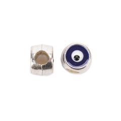 Χάντρα μάτι ασημί μπλε 10x8mm 10τεμ