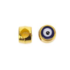 Χάντρα μάτι χρυσή μπλε 10x8mm 10τεμ