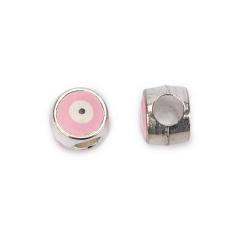 Χάντρα μάτι ασημί ροζ 10x8mm 10τεμ