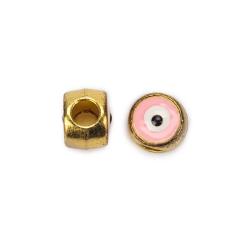 Χάντρα μάτι χρυσή ροζ 10x8mm 10τεμ
