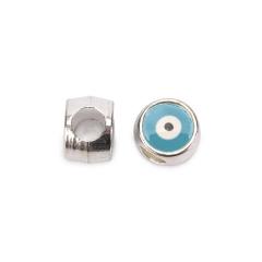 Χάντρα μάτι ασημί σιέλ 10x8mm 10τεμ