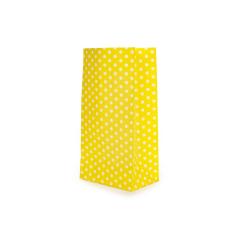Χάρτινη σακούλα πουά κίτρινη 9x18x6cm 10τεμ