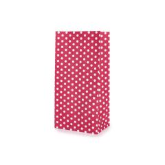 Χάρτινη σακούλα πουά κόκκινη 9x18x6cm 10τεμ