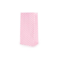 Χάρτινη σακούλα πουά ροζ 9x18x6cm 10τεμ
