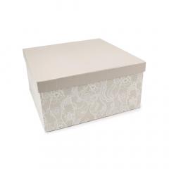 Χάρτινο κουτί με σχέδιο δαντέλα 30x30x15εκ