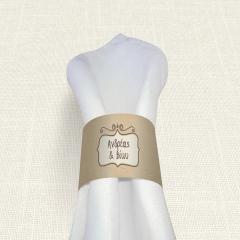 Δαχτυλίδι πετσέτας γάμου Brown Polka Dots MyMastoras