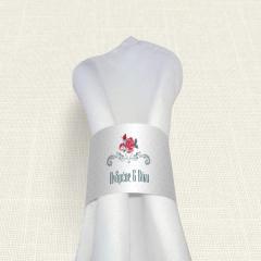 Δαχτυλίδι πετσέτας γάμου Rose polka dots MyMastoras