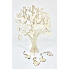 Ξύλινo δέντρο ευχών με 50 καρδιές