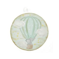 Ελεφαντάκι σε αερόστατο ξύλινο διακοσμητικό 22cm