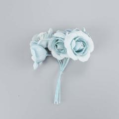 Λουλουδάκι διακοσμητικό σιέλ 6τεμ