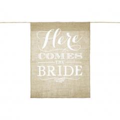 Επιγραφή λινάτσα Here comes the bride 41x51εκ