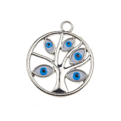 Μεταλλικό δέντρο ζωής μάτι ασημί 3εκ 5τεμ