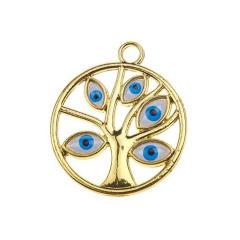 Μεταλλικό δέντρο ζωής μάτι χρυσαφί 3εκ 5τεμ