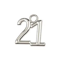 Μεταλλική ημερομηνία 21 ασημί 2x2εκ 50τεμ